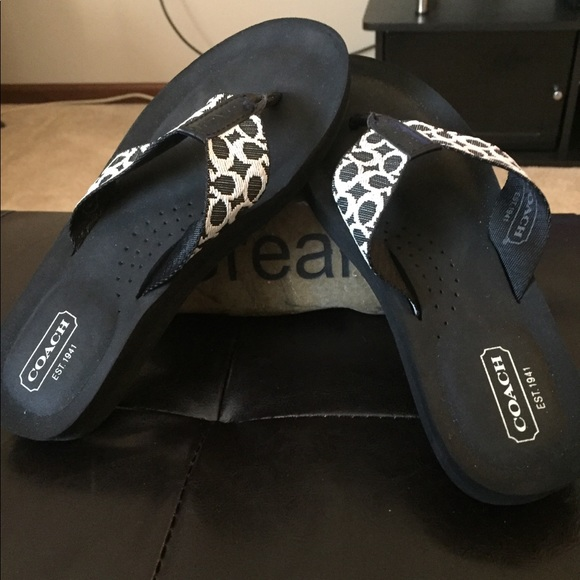 6c928423c Coach Shoes - Coach Jessalyn Black flip flops. Size 5.5.